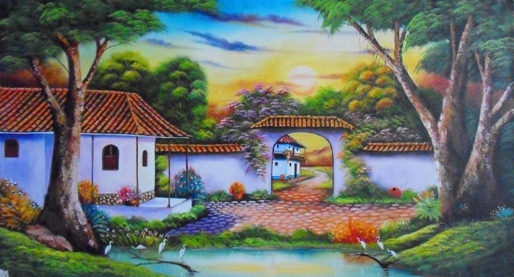 Cuadros modernos pinturas y dibujos nuevos paisajes - Paisajes de casas ...