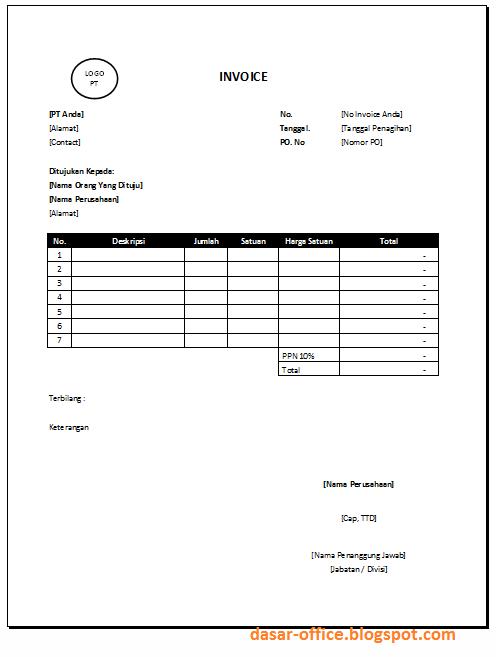 Download Contoh Invoice Doc dan Excel Sederhana - Dasar Office ...