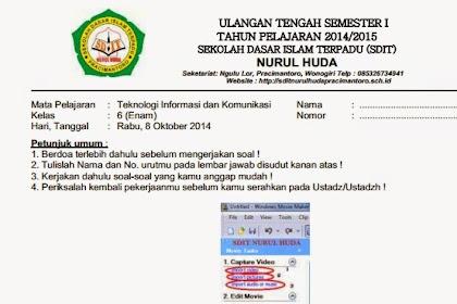 Download Soal UTS TIK Sekolah Dasar Semester 1 Tahun Ajaran 2014- 2015