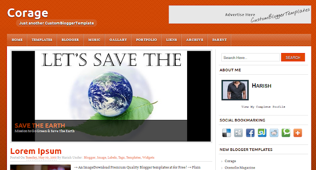 Orange Magazine Blogger Template