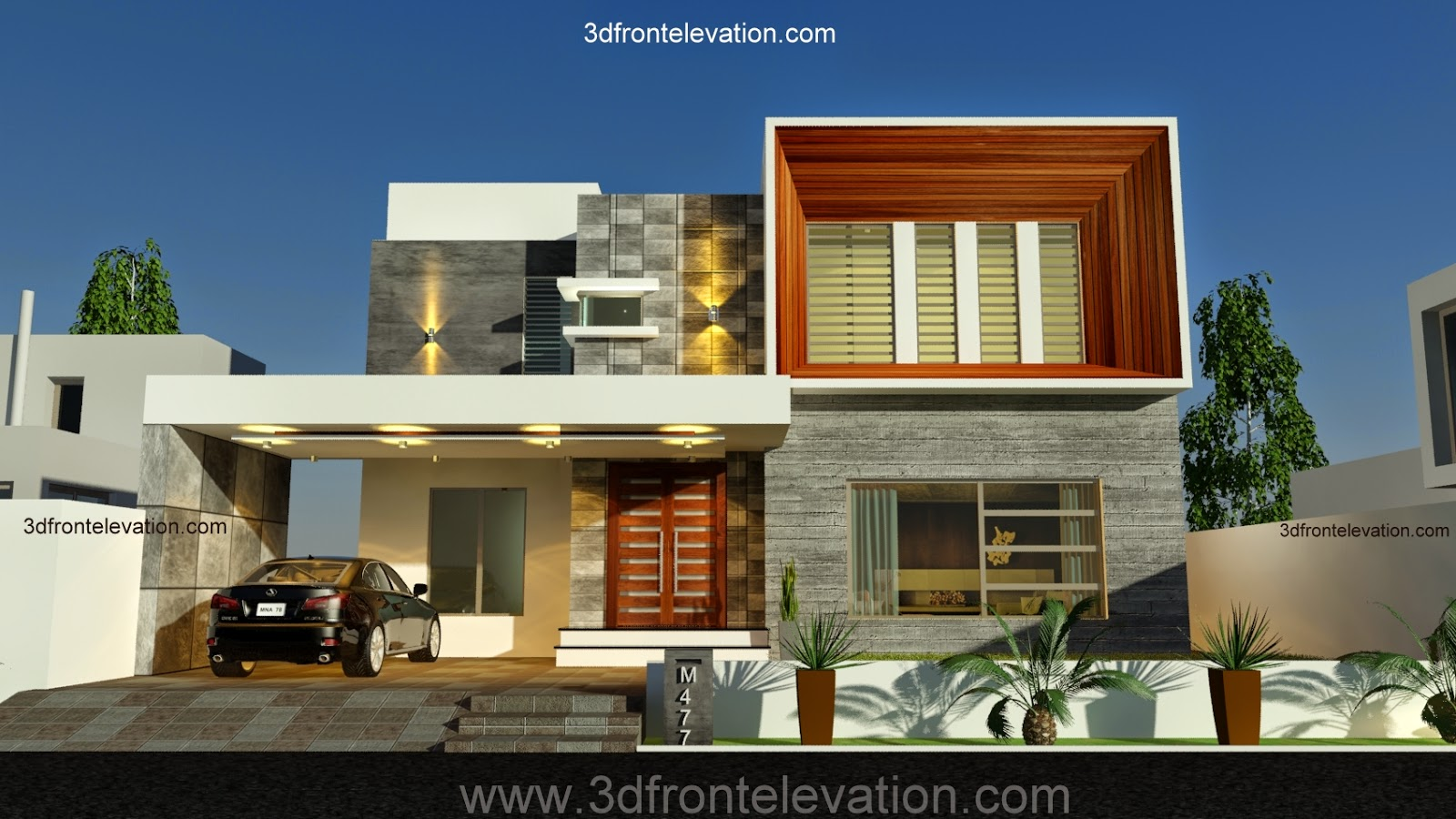 3d front new 1 kanal contemporary house for Latest modern home designs