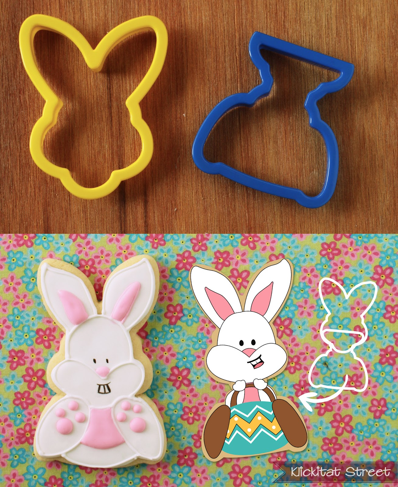 Easter bunny rabbit cookies made by combining bunnny face cookie cutter with a trophy