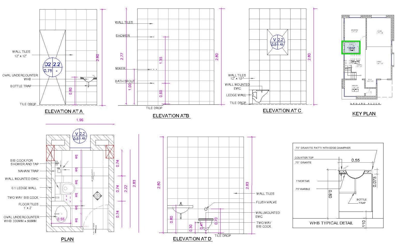 architectural portfolio bungalow for mr chandrakant On toilet details