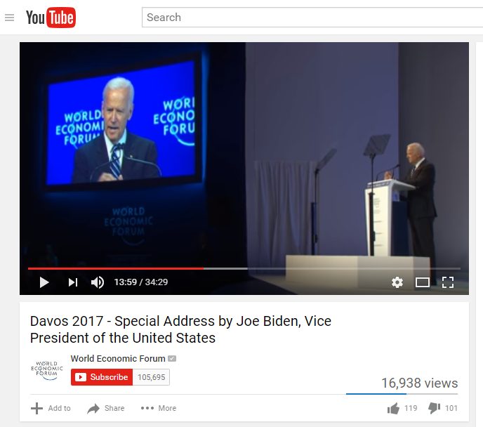Man with two teleprompters, comfortable cliches, Davos flavored.
