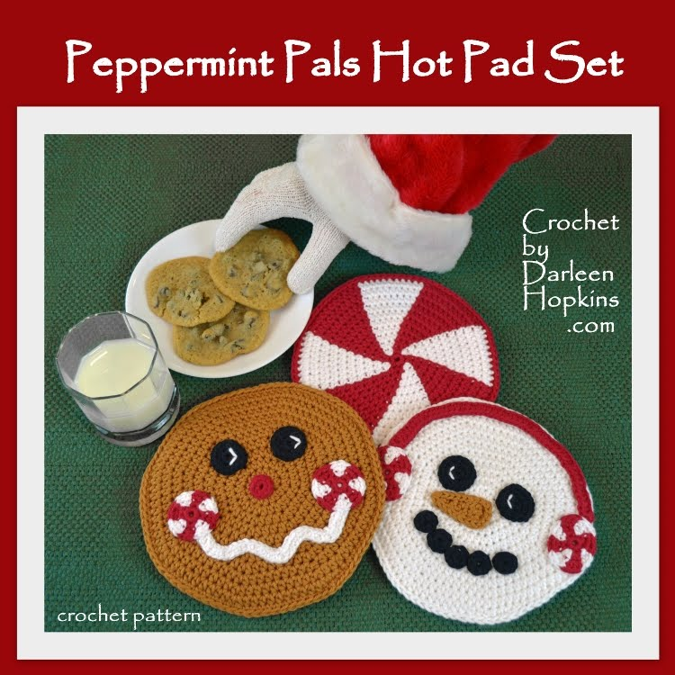 Peppermint Pals Hot Pads, Crochet Pattern
