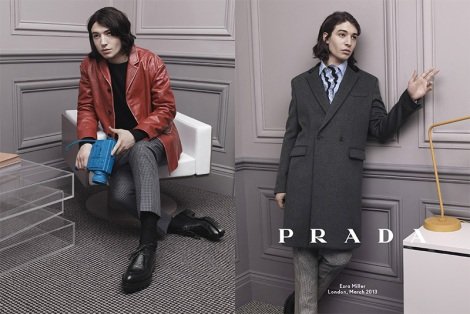Ezra Miller wearing red leather jacket for Prada Fall Campaign