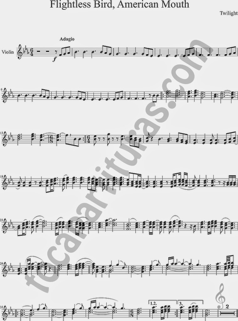 Partitura de Flightless Bird, American Mouth para Violín de Crepúsculo Twilight Sheet Music for Violin