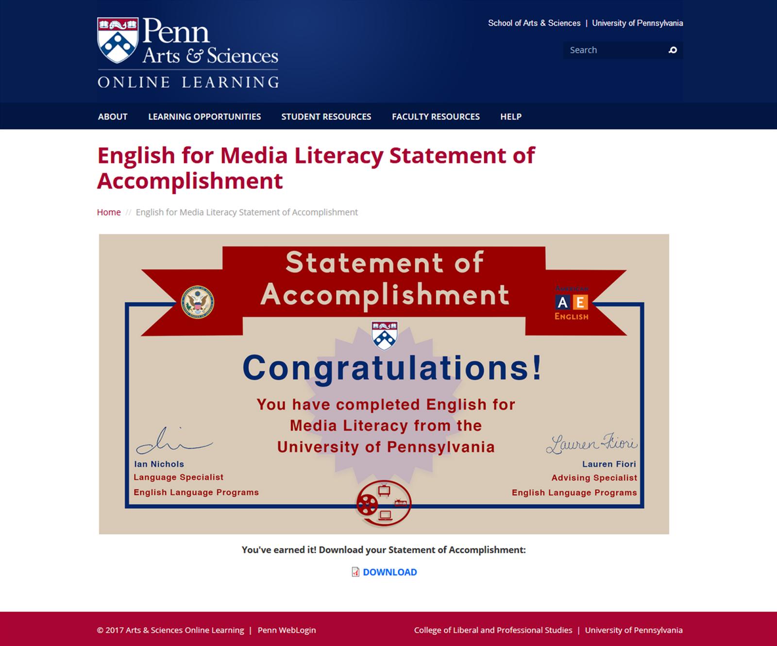 English for Media Literacy Statement of Accomplishment