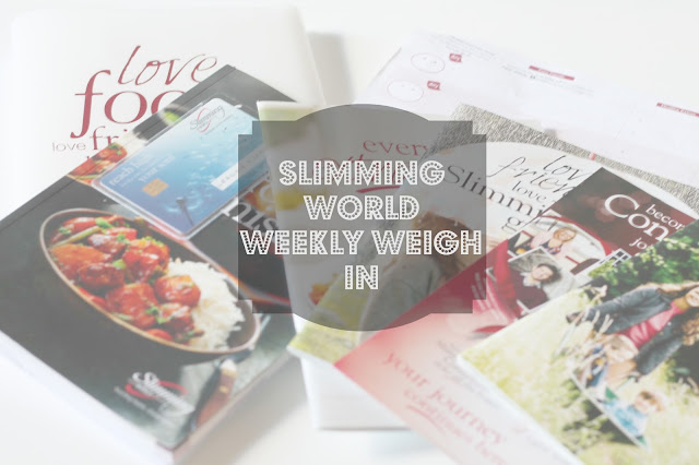 Slimming World books scattered on table with text over slimming world weekly weigh in