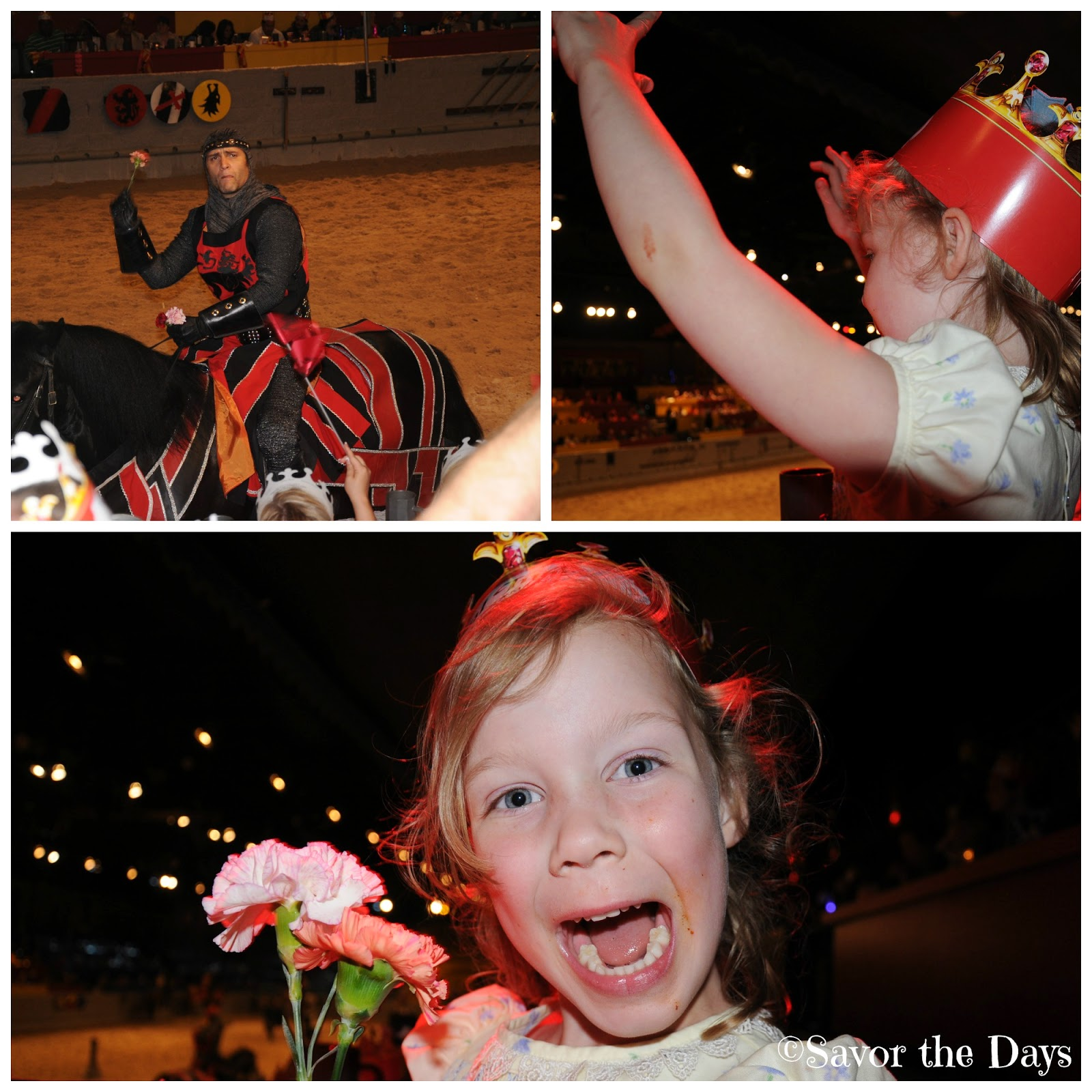 Knight throwing flowers to little girl at Medieval Times