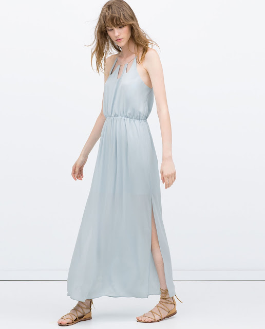 zara pale blue dress, blue dress with chain neck,