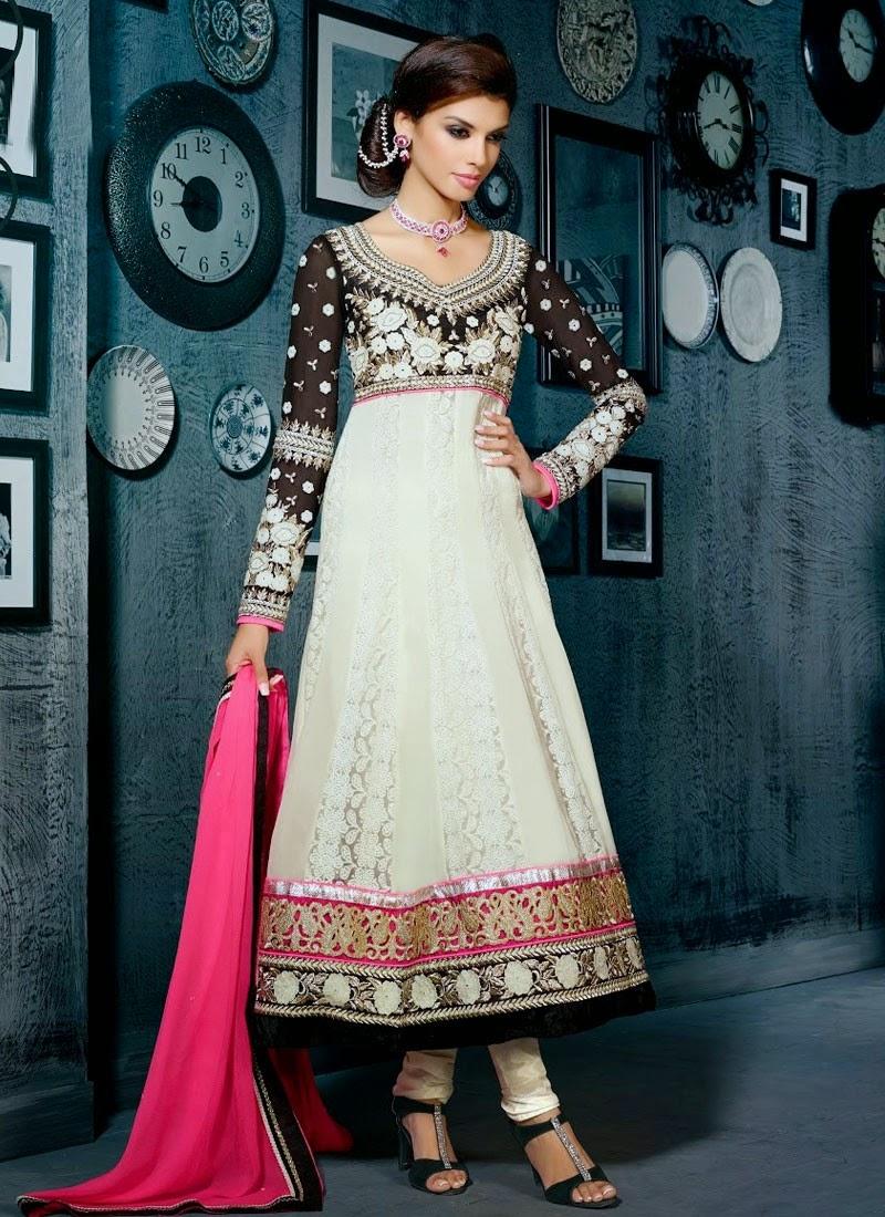 Embroidery Designs Black Or Cream Anarkali Salwar Kameez