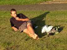 Candid Guys Feet Guy Relaxing In Park