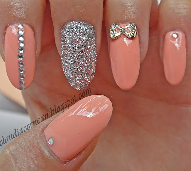 nails art tutorials unghii peach