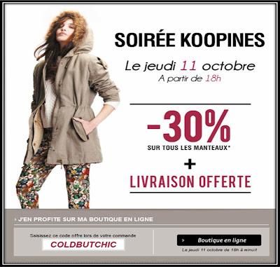 Soirée Koopines réduction manteaux Kookaï