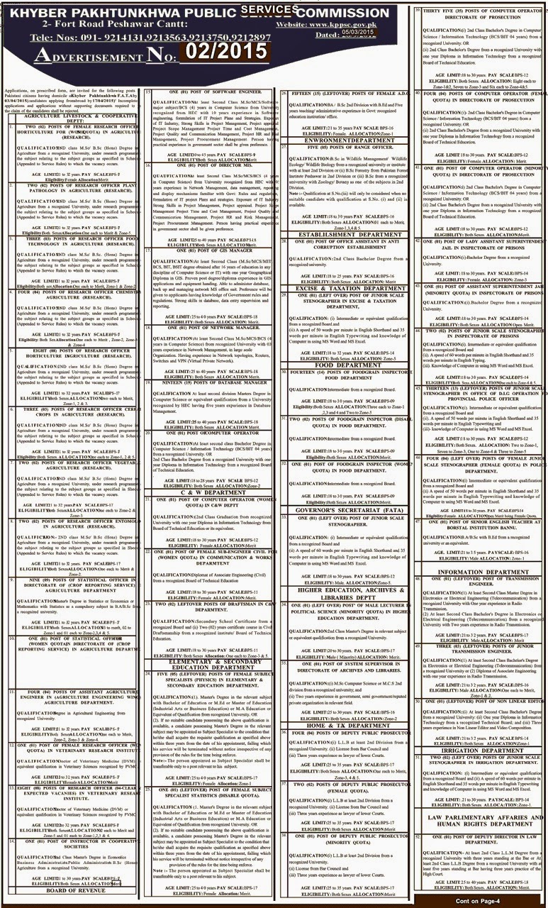 Khyber Pakhtunkhwa Public Service Commission KPPSC Jobs