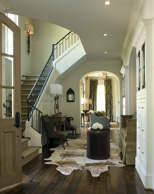 Retropolitan cowhide rug tutorial for Entrance foyer rugs