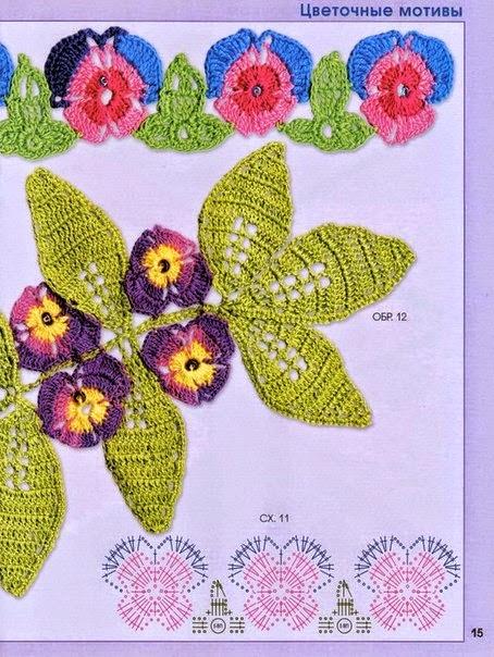 Diagramas de flores y hojas tejidas con ganchillo
