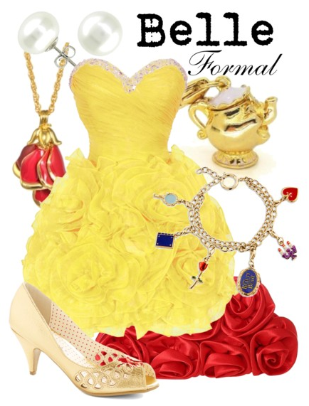 beauty and the beast, belle, prom outfit, disney fashion, disney prom