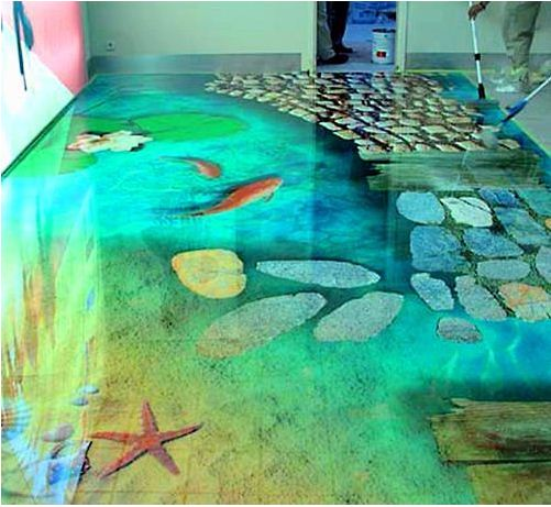 3d flooring ideas and 3d bathroom floor murals designs for Unusual bathroom flooring