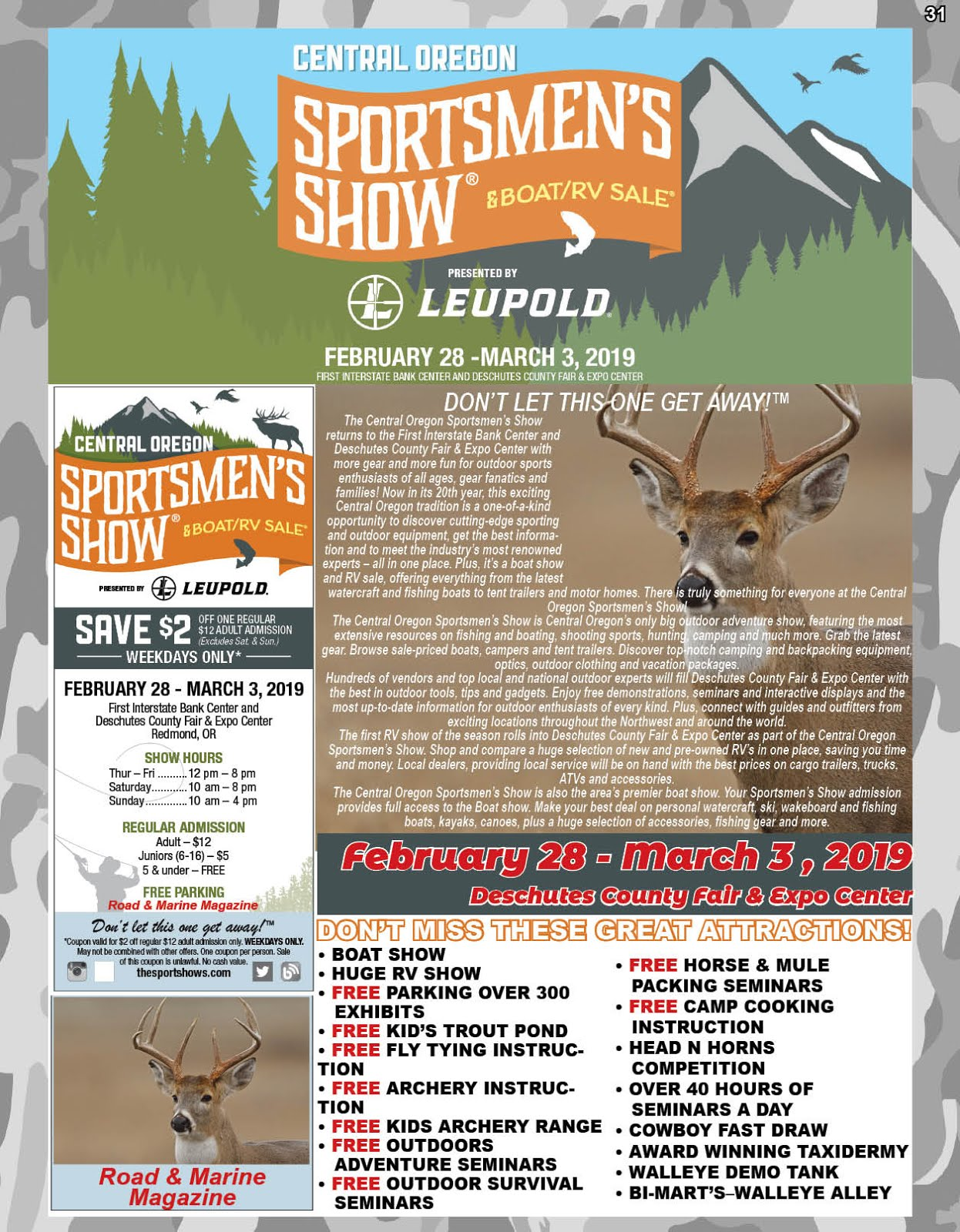Get Your Central OR Sportsmen's Show & Boat & RV Sale Discount Tickets Here!!
