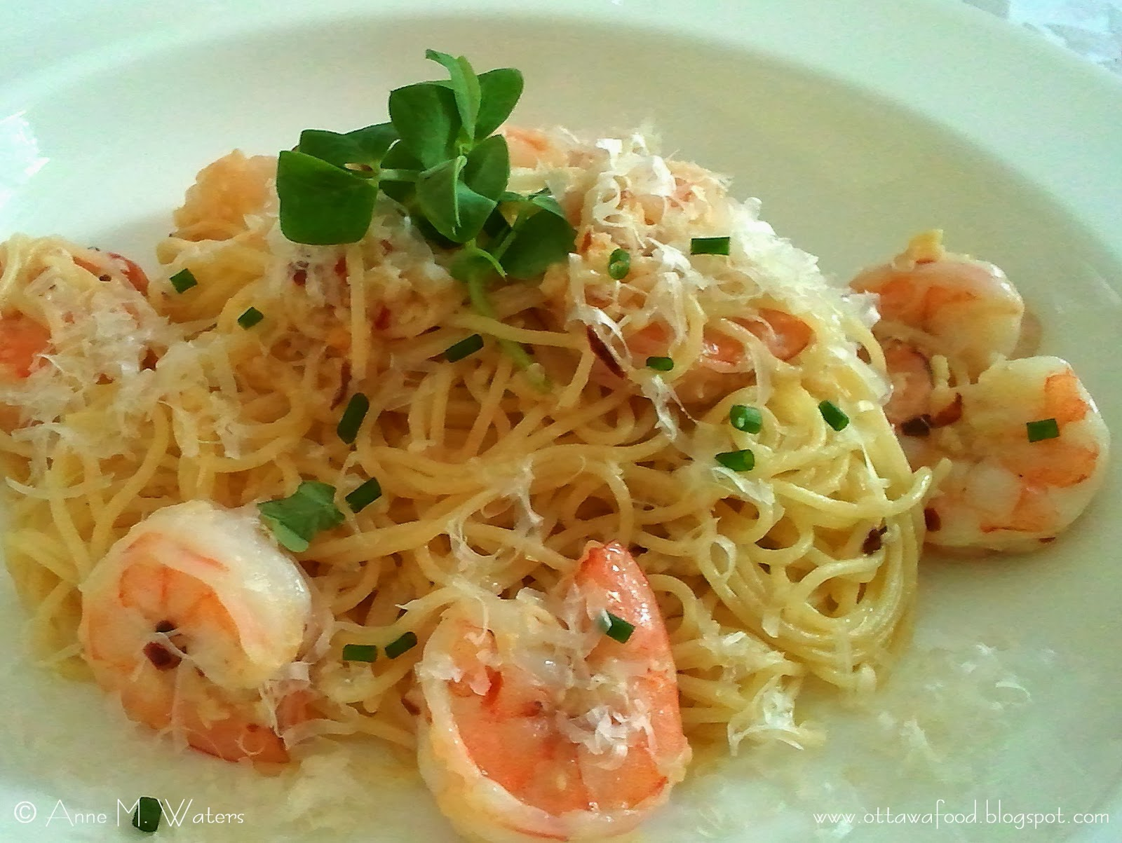 Garlic shrimp pasta. I used the whole garlic from the last Roots and ...