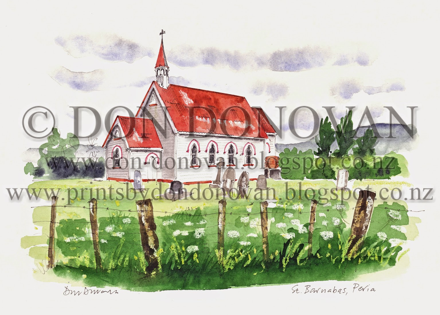 This Print Is Identical To My Original Drawing That Appeared In Book Country Churches Of New Zealand