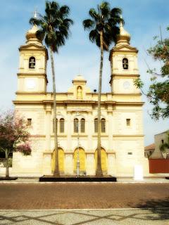 Fachada da Igreja Matriz de Bagé, com duas palmeiras à frente.