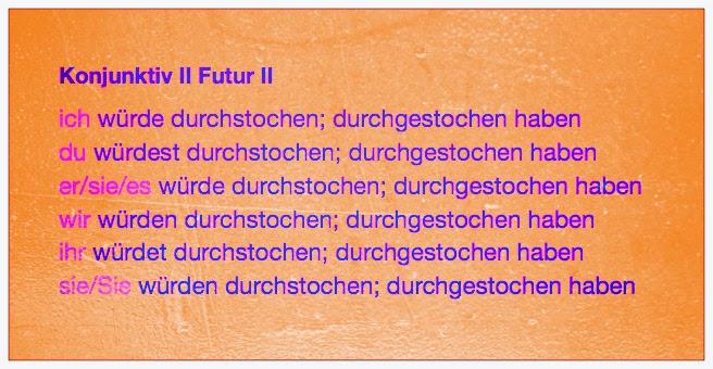 Konjunktiv II Futur II von durchstechen, Konjugationstabelle