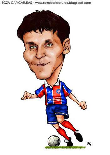 caricatura do ex atacante do esporte clube bahia nos anos de 1994 e