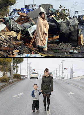 大地震後一年對比圖 日本