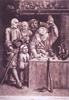 Nel disegno: Isaac Sarrabat,nel 1600, medico ,sta esaminando un'ampolla di urina. (US National Library of Medicine)