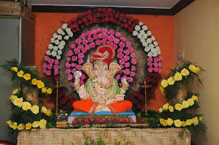 Gouri ganesh habba for Artificial flower decoration for ganpati