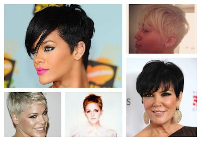 celebrity short hair, rihanna, miley cyrus, pink, emma watson, kris kardashian,