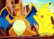 Pikachu despidiendose de Charizard
