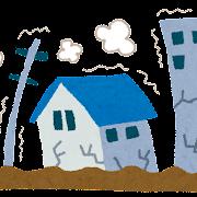 地震のイラスト「揺れる街」