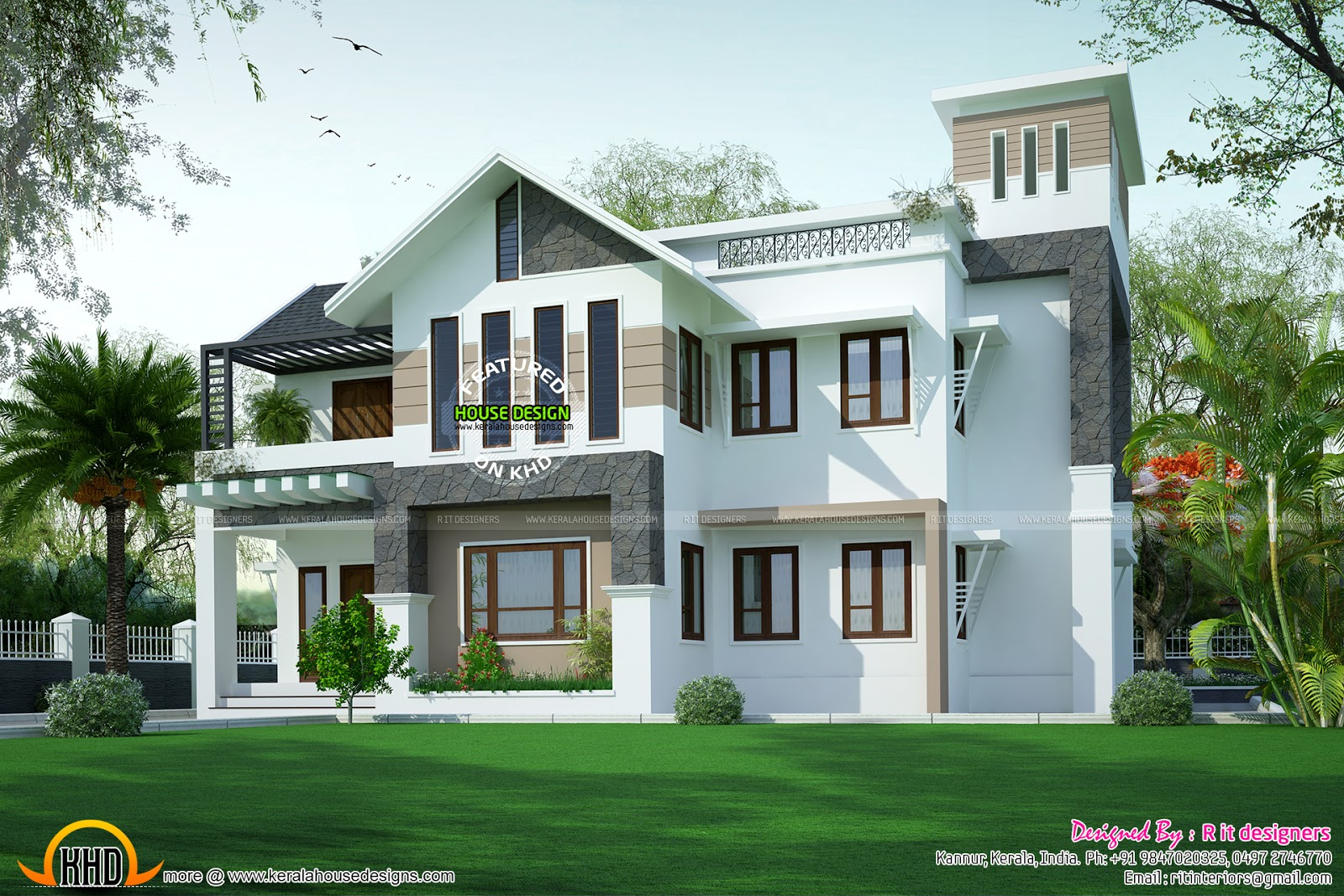 Modern sloping roof house in 315 square yards kerala for Modern kerala style house plans with photos