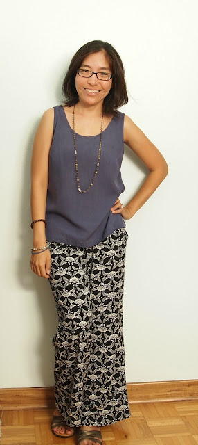 blue silk tank black and white print pants teacher style summer outfit
