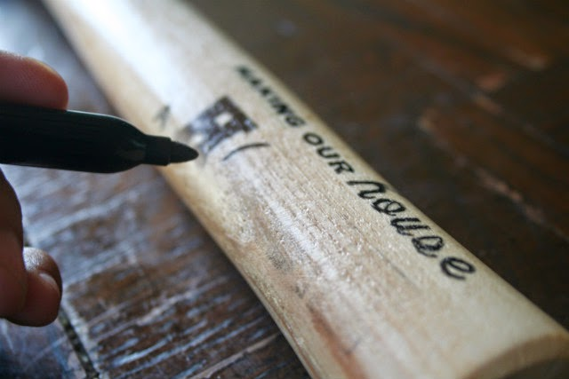 How to embellish wood using wax paper and sharpies.