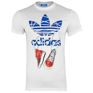 Adidas Originals Trefoil Sneakers Graphic art Herren T-Shirt weiß B-Ware