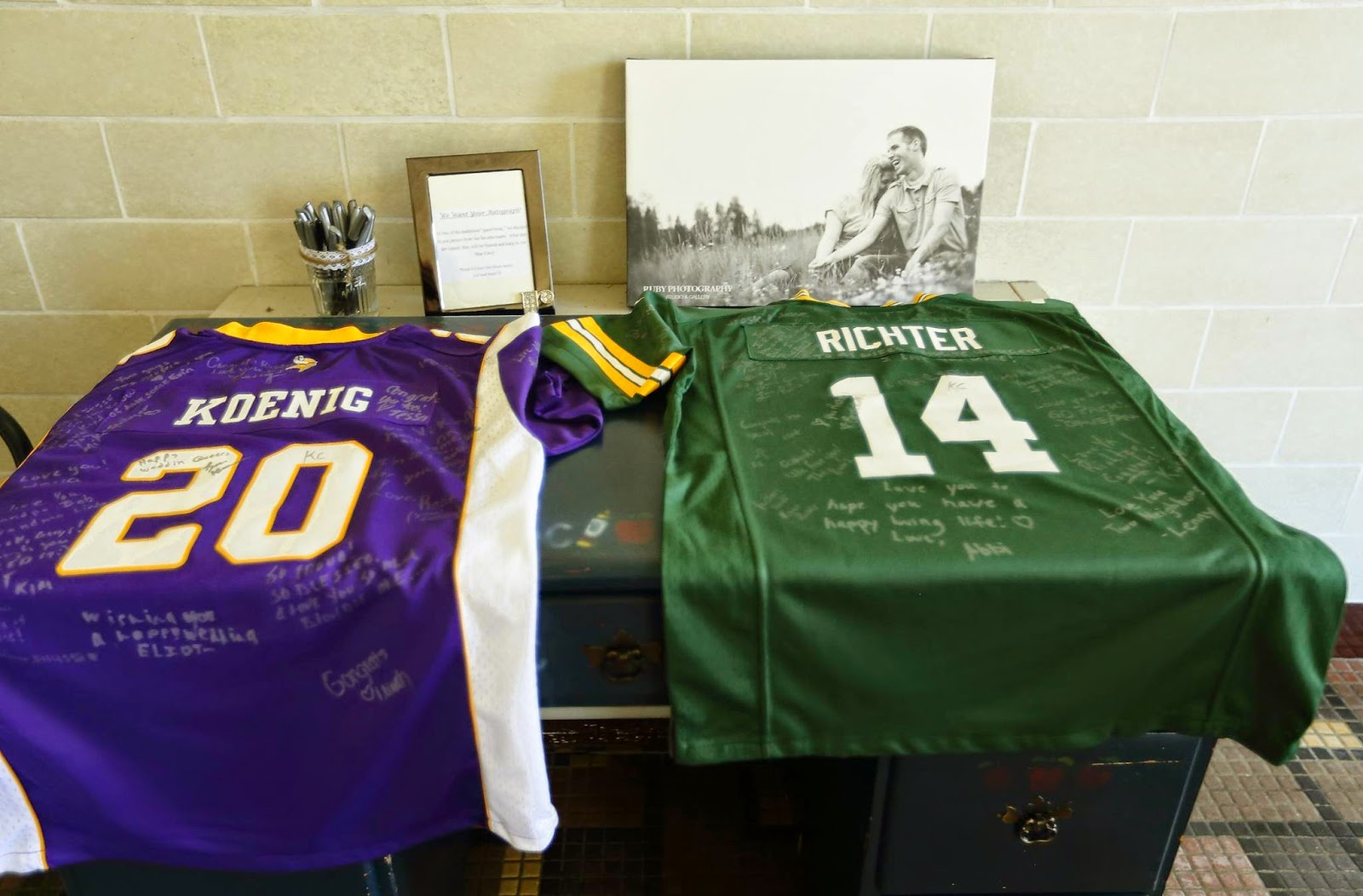 Wedding Guest Book Area with Jerseys & Framed Canvas