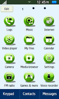 Samsung GT-C6712 Cute Green Waterdrop Theme Free Download Menu
