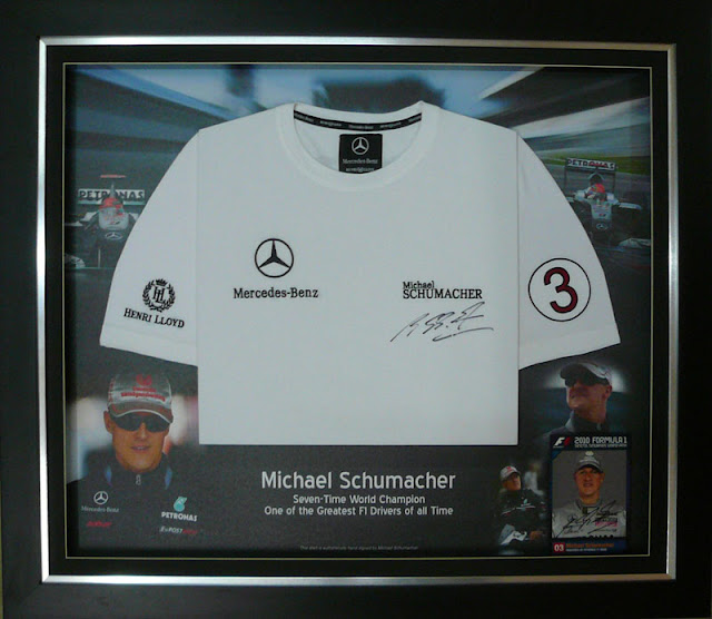 Michael Schumacher - Signed Jersey Framed with Background Design