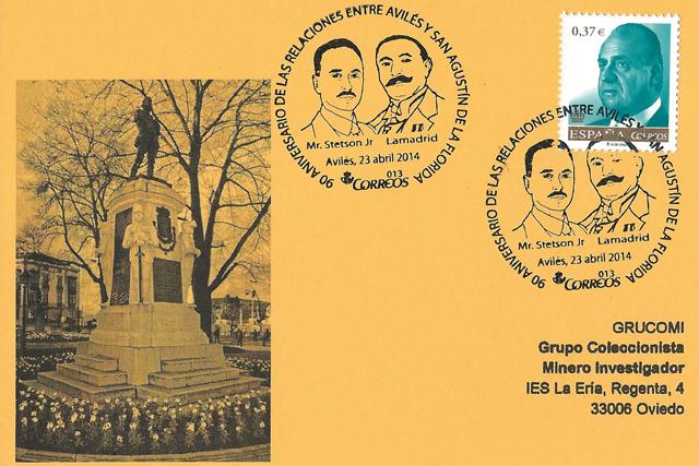 Tarjeta de Grucomi con el matasellos del 90 aniversario de las relaciones entre Avilés y San Agustín de la Florida