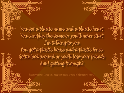 Plastic - Alanis Morissette Song Lyric Quote in Text Image