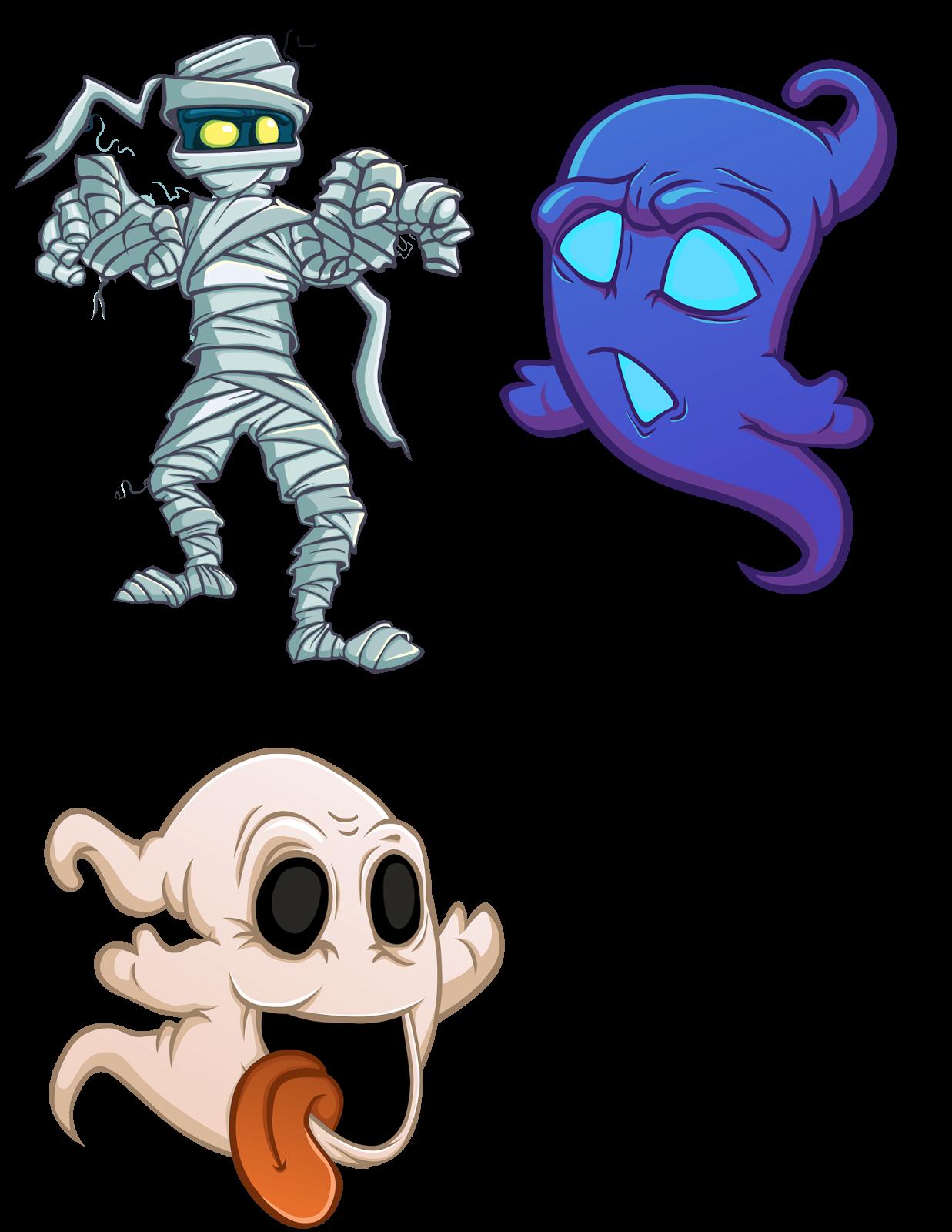 4 fantasmas y espectros en halloween