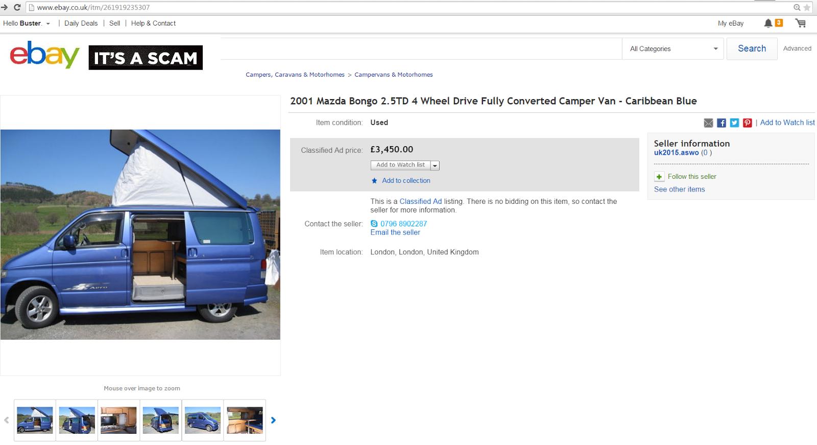 EBAY SCAM : 2001 Mazda Bongo Camper Van | VF51ATZ - Fraud - VF51 ATZ ...