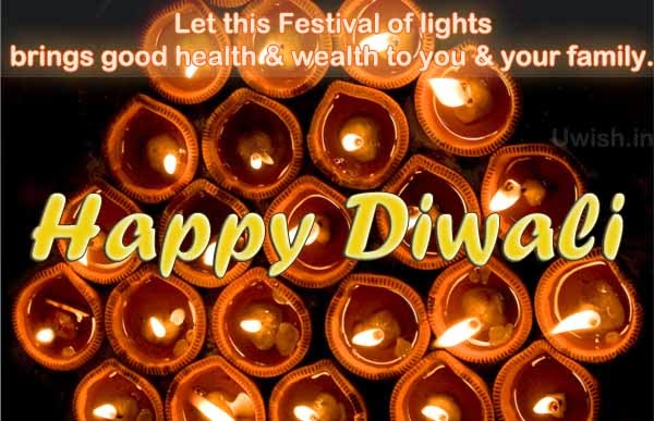 Happy Diwali - Festival of lights e greeting cards and wishes with lights of lamp