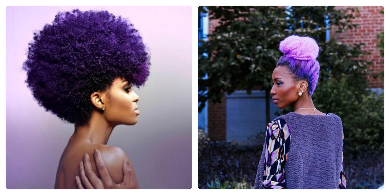 Couleur violet cheveux afro