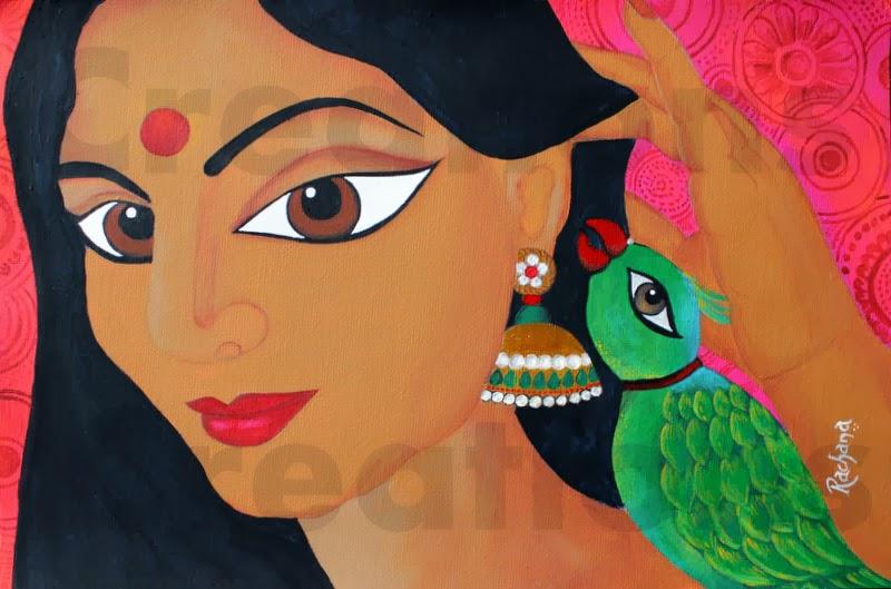 acrylics, indian art, folk art, Rachana saurabh, self-portrait, portrait